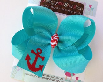 Anchor Bow -- Aqua Blue Hairbow with embroidered anchor -- Nautical red and aqua - Headband Option