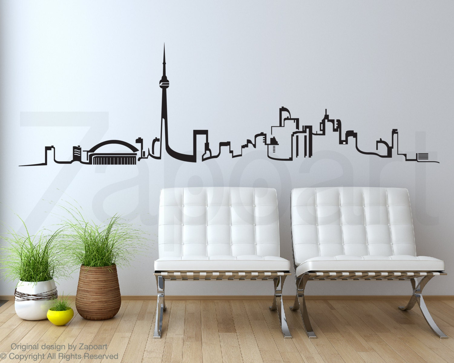 Toronto Skyline Wall Vinyl Decal - Custom vinyl decals vancouver