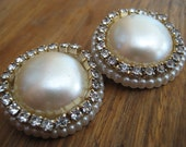 Large Faux Pearl Earrings With Rhinestones Clip Ons