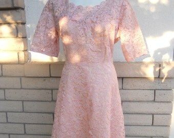 50s Lace Dress RHINESTONES Dusty Rose Scallops Fit and Flare Large