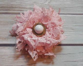 Pink Lace Fabric Flower Brooch Or Hair Clip, Bridal Brooch, Women's Hair Clip, Wedding Hair Clip, Flower Girl Brooch