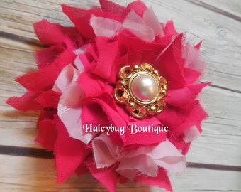 Pink Fabric Flower Brooch Or Hair Clip, You Choose, Women's Brooch, Women's Hair Clip, Flower Hair Clip, Flower Brooch
