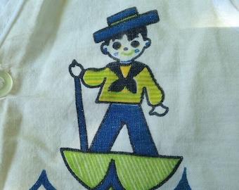 Baby Boys Vintage Sailor Button Up Vest circa 60s 70s