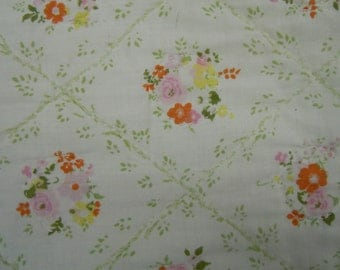 Vintage Quilt: whole cloth vintage cotton floral quilt hand quilted from the estate of AAGPBL player Janie Krick