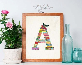 Monogram A, Printable, Instant Download, Name Art, Letter Art, Bright Colors, Anthropologie style, Butterfly, Nursery, Kid Wall Art