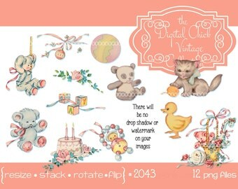 Digital Clipart, instant download, Vintage Little Girl Boy Clipart, baby toys, birthday cake, teddy bear, kitten, duck, ball PNG files 2043