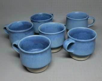 set of 6 stone soldier pottery mugs in blue , hand made in jacksonville vermont .mug