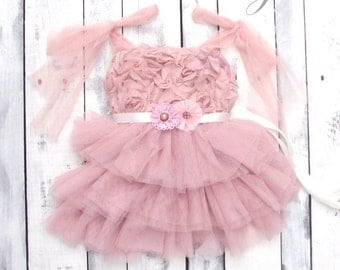 Flower Girl Dress, Dusty Pink Toddler Girls Dress, Blush Pink Toddler Girls Dress, Baby Girl Birthday Party Dress, Rustic Wedding, Country