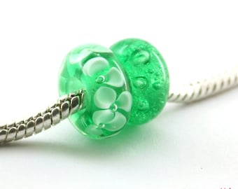 Set of 2  BHB green  bubble flower Glass  Handmade Lampwork Beads Fits Troll Biagi / big hole beads