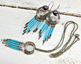 Vintage Zuni Necklace Earrings Set, Turquoise Heishi Bead, Sterling Silver, Pendant Necklace, Dangle Earrings, 1970s Native American Jewelry