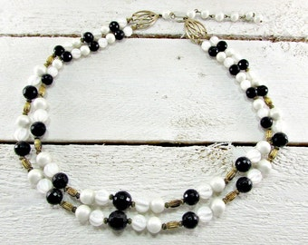 Vintage Black and White Beaded Necklace, Pearl Necklace, Layered Bib Necklace, Double Multi-Strand Necklace, 1960s Mad Men Costume Jewelry