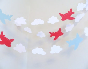 Airplane & clouds paper garland - Boys birthday Decor - Airplane birthday decor -10ft  Baby Shower Decor - Birthday Decor -your color choice