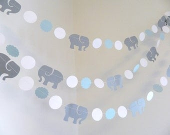 Elephant Garland / Elephant baby shower Decorations / Blue & Gray elephant Nursery Decoration - Gray elephant  / Custom colors