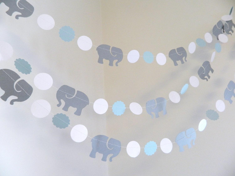 elephant garland elephant baby shower decorations blue
