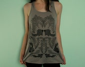 Wisteria and Black Goldfish Stone Gathered Racerback Women's Tank