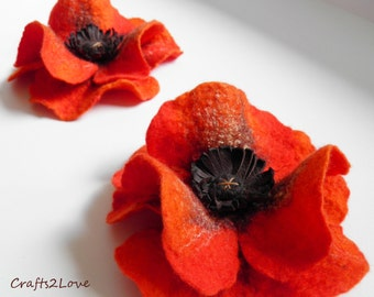 Summer party Red Orange Poppy, Felted wool flower, brooch, pin, felt poppy, wool and leather