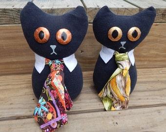 Plush Business cat necktie cat cute stuffed animal plushie cotton humor funny upcycle internet meme