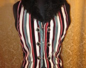 Circus Ringmaster Velvet and Silk Striped Vest With a Fur Trimmed Collar