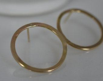 14k Solid Gold Hammered Circle Earrings - Gold Hoop Earrings