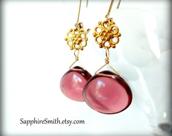 PLUM PUDDING Mauve Purple Hydro Quartz & Gold Vermeil Earrings, 14kt gold filled lever back hooks