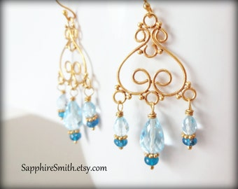 Sky Blue Topaz, Peacock Blue Apatite & Bali Gold Vermeil Chandelier Earrings, bridal accessories