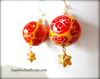 Handpainted Papier Mache & Bali Gold Vermeil Earrings, orange, red, Asian-inspired
