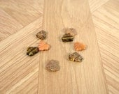 Assorted Czech glass maple leaf beads, 10x13mm, amber, caramel, tan, rusty red, quantity 8