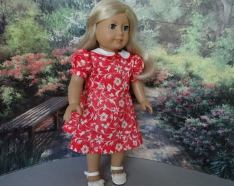 1930's Princess Seam dress in coral and ivory and shoes for American Girl or similar 18 inch doll.