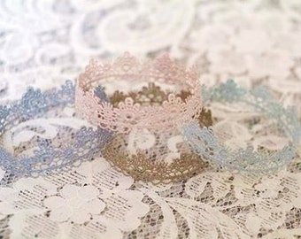 Newborn Lace Crown, Handpainted Lace Crown, Newborn Photography Prop, Baby Crown, You Choose Your Color