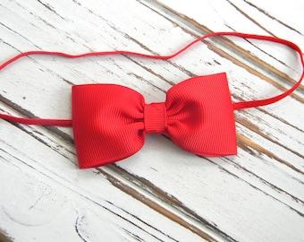 Red Bow Headband - Newborn Bow Headband - Baby Red Bow Headband - Red Baby Headband