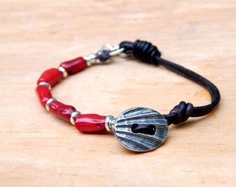 Beaded Leather Wrap Bracelet Red Coral Sea SB42