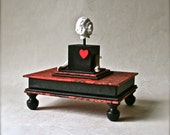 Handmade Box in Red and Black Featuring Vintage German Doll Parts for Gifts and Decor