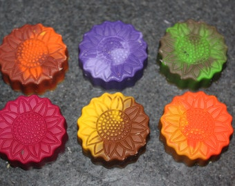Recycled Crayons. Flower Crayons. Kids Crayons. Flowers. Easter. Party Favors. Sunflower. Crayons. Rainbow Crayons. Lot of 6 Crayons.