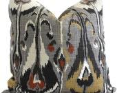 Gray Ikat Decorative Pillow Cover Robert Allen  Square, Euro sham or Lumbar pillow - Accent pillow- Throw Pillow, Toss Panel, Pillow cushion