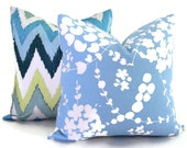 China Seas Pillow Cover Light Blue Lysette Reverse  Quadrille Square, Eurosham or Lumbar pillow Accent Pillow, Throw Pillow, Toss Pillow