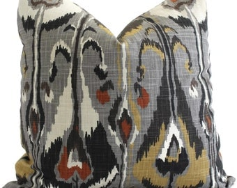Gray Ikat Decorative Pillow Cover Robert Allen  Square, Euro sham or Lumbar pillow - Accent pillow- Throw Pillow, Toss Panel, Pillow cushion