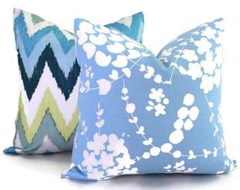 China Seas Pillow Cover Light Blue Lysette Reverse  Quadrille Square, Eurosham or Lumbar pillow Accent Pillow, Throw Pillow, Toss Pillow