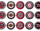"1"" Alabama Crimson Tide Football Roll Tide Bottle Cap Image Sheets Party Favors Cupcake Topper Magnet Stickers Printables Instant Download."