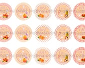 """1"""" Just Peachy Sweet As A Peach Bottle Cap Image Sheets Party Favors Cupcake Topper Magnet Stickers Printables Bottlecap Instant Download."""