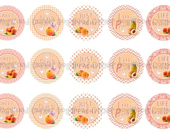 "1"" Just Peachy Sweet As A Peach Bottle Cap Image Sheets Party Favors Cupcake Topper Magnet Stickers Printables Bottlecap Instant Download."