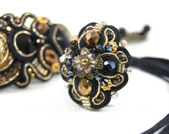 Massive Soutache Ring / black, gold /