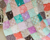 20% OFF Summer Sale, Brambleberry Ridge, Gold sparkles and pastels, Twin/Single Rag Quilt, deer, swallows, cityscapes, Ready to Ship