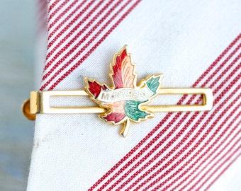 Montreal - Enamel Maple Leaf Vintage Tie Clip