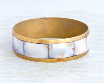 Purple Mother of Pearl and Brass Bangle