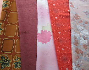 Kimono silk pack, 6 yds vintage Japanese kimono silks fabric, crafters pack fabric remnants, sewing supplies, creative projects, set 8