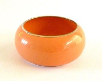 Vintage Orange Cuff Bracelet, Wide Cuff Bangle