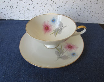 Fine China Cup and Saucer, Bavaria Germany Alka Knunst Rhapsodie KD