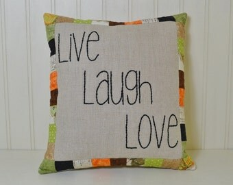 Live Laugh Love Decorative Pillow - Hand Embroidered Home Decor - Small Linen Throw Pillow - Cottage Chic Accent Pillow - Fall Colors