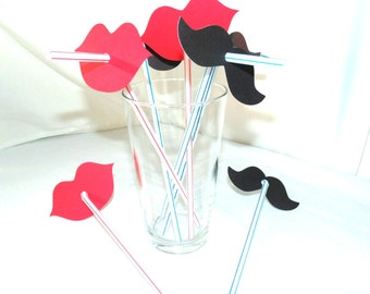 20 Lips and Mustache Straw Combo