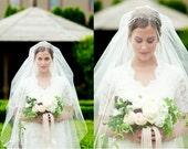 Chapel Length Bridal Veil, Drop Veil, Bridal Veil with Blusher, Chapel Length Veil, Waltz Veil, Ivory Veil, Sheer Veil, Soft Veil, Simple